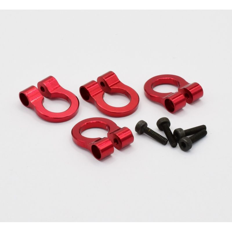 Hot Racing 1/10 Scale Aluminum Red Tow Shackle D-Rings (4) [ACC80802]