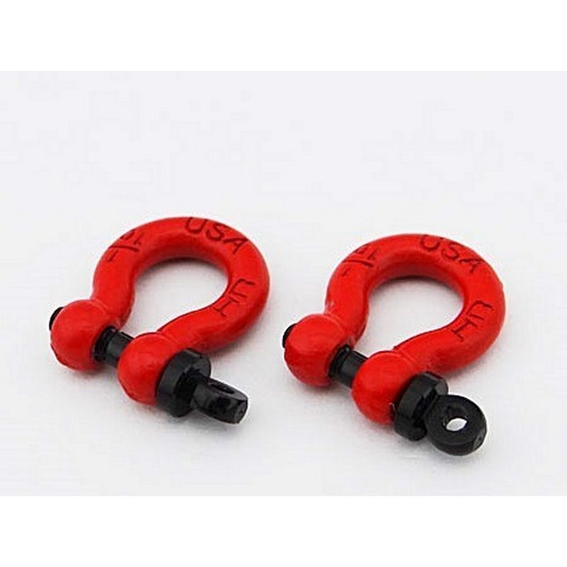 1/10 Scale Red Tow Shackle D-Rings (2)